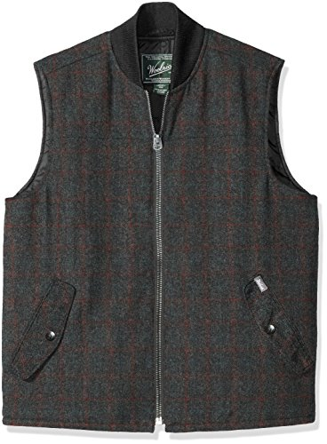 Woolrich Men's Bear Claw Wool Vest, Charcoal Plaid, Small