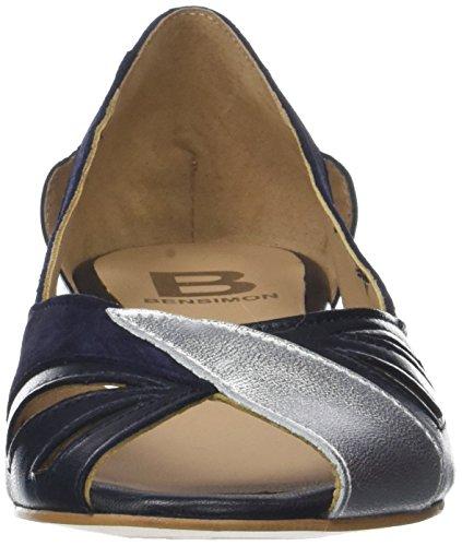 Bensimon Damen Ballerines ouvertes Peeptoe Ballerinas Blau (Marine)