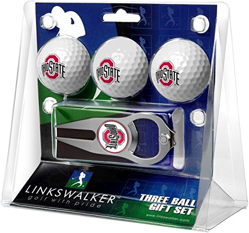 (NCAA Ohio State Buckeyes - 3 Ball Gift Pack with Hat Trick Divot Tool)