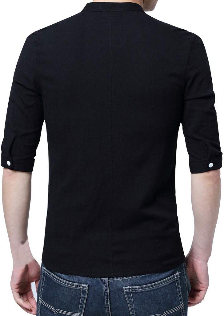 Like-best Mens Linen Cotton Shirts Button Down Henley T-Shirt Beach Tops Casual Short Sleeve Lightweight Plain Tees