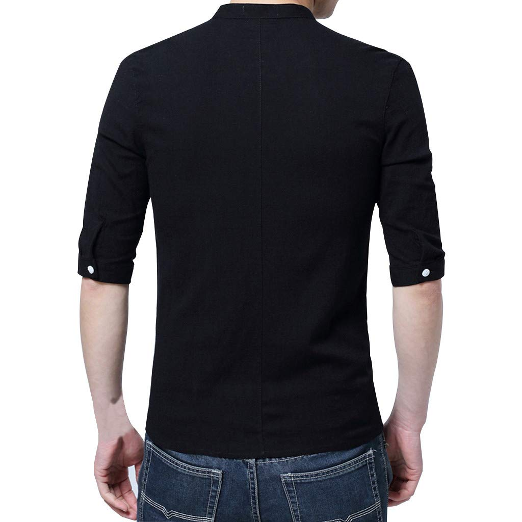 YenMY Mens Summer Vintage Style Pure Color Buckle Half Sleeve T-Shirt Top Blouse