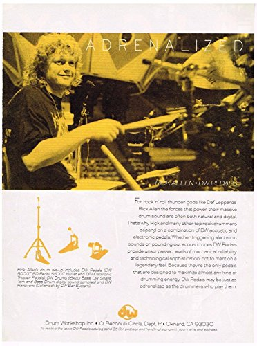 DW Drum Workshop - Rick Allen of Def Leppard - 1993 Print Advertisement (Def Leppard Allen Rick)