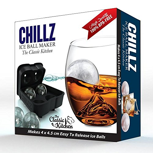 Chillz-Ice-Ball-Maker-Black-Flexible-Silicone-Ice-Tray-Molds-4-X-45cm-Round-Ice-Ball-Spheres