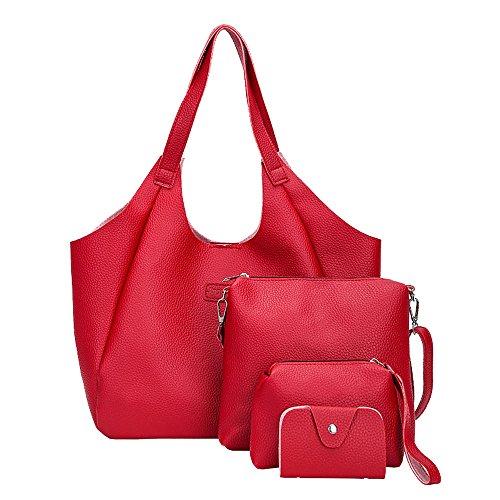 Della Tote Rosso Supporto Elaborazione Dorame Borsa Set Delle Shoulder Del Di Bag Modo Donne Cuoio Dell'unità 4pcs Carta FaTga7B