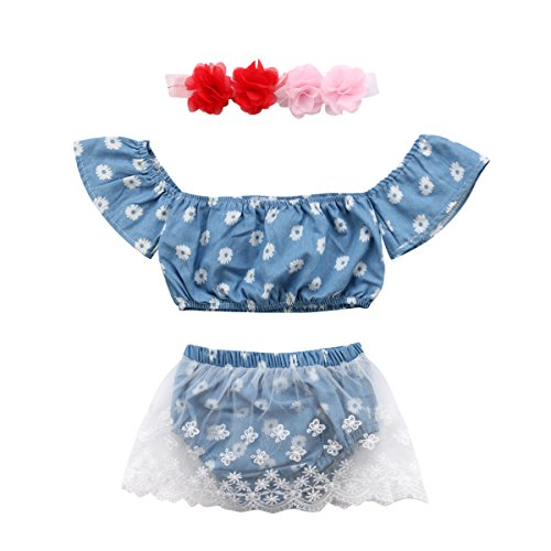 3Pcs Baby Girl Denim Sunflower Ruffle Tube Tops+Lace Shorts Skirt+Headband Outfit Set (Blue Floral, 6-12 Months) -