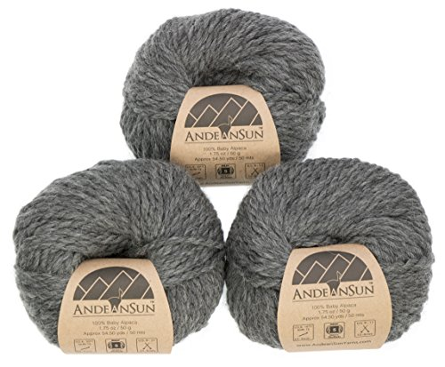 100% Baby Alpaca Yarn (Weight #5) Bulky, Chunky, Craft - Set of 3 Skeins 150 Grams Total- Luxurious and Caring Soft for Knitting and Crocheting - Medium Gray #5 Bulky