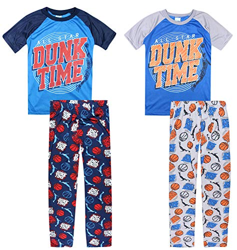 Tuff Guys Boys 4-Piece Sport Themed Pajama Set with Short Sleeve T-Shirt and Matching Pants, Dunk Time, Size 8