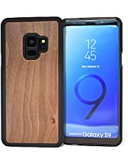 Samsung Galaxy S9 Wood Case | Real Bamboo or Walnut Wooden Backplate With Polycarbonate Protective Bumper and Shock Absorbing Rubber Coating for Optimal Protection
