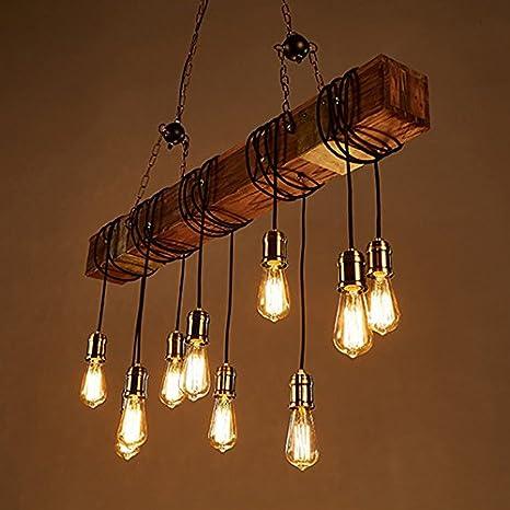 $illuminazione 10 lampadari , Industriale Wind Bar Ristorante Café Retro  Lampadario in legno massello Luci
