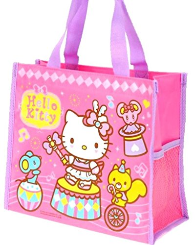 Hello Kitty Water Resistant Lunch Box Zipper Tote Bag with Water Bottle Case