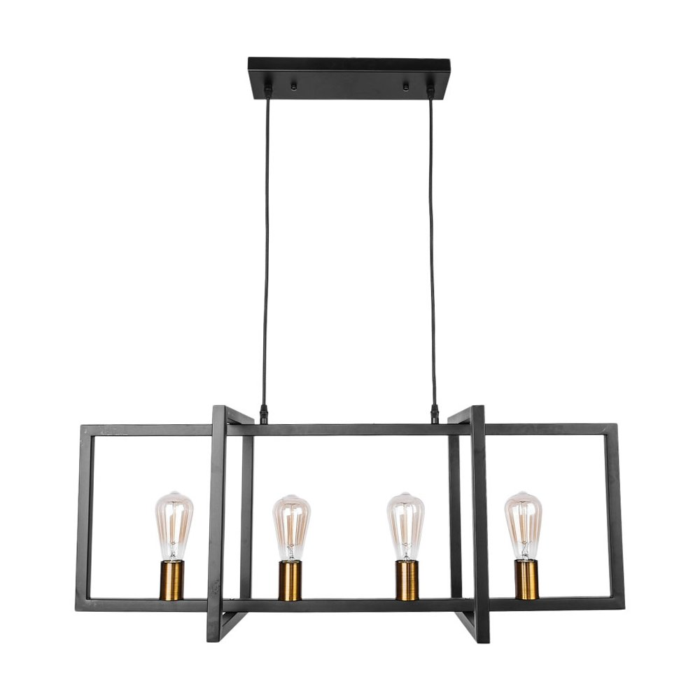 Lingkai 4-Light Kitchen Island Pendant Modern Industrial Chandelier Pendant Lighting Fixture Matte Black with Antique Brass Finish