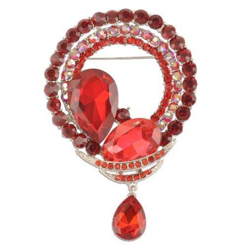 Crystal Brooch Dangling (Circular Red Dangling Crystal Brooch)
