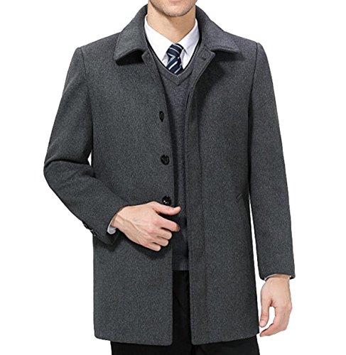 Épaule Poitrine Grey En D'hiver Manteau Cachemire Homme Simple Laine Plus Veste Pour Épais YwPqxP7Z