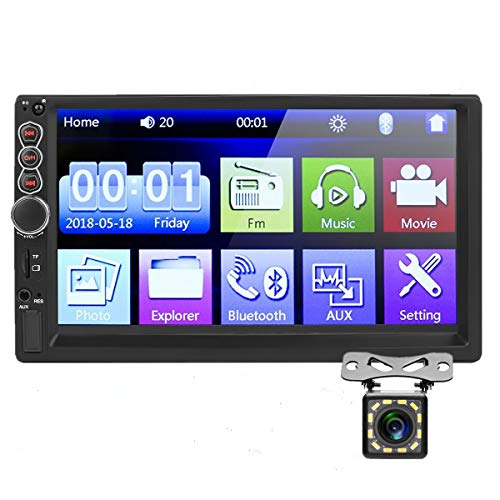 Car Stereo Double Din,7 inch HD Touch Screen Car MP5 Player USB/SD/AUX Input,Car Audio Bluetooth,FM Radio,Mirror Link…