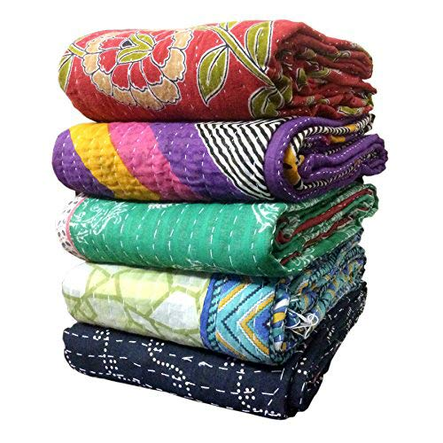 Amazon.com: Indio Vintage bengalí Kantha Quilts al por mayor ...