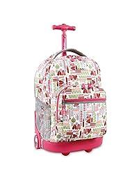 J World New York Sunrise Rolling Backpack Wheel, Heart Factory