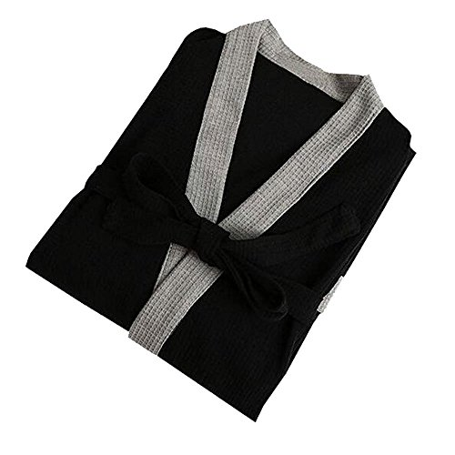 16304afcbe OGOUGUAN Men s Waffle Kimono Robe Cotton Lightweight Nightgowns Spa Terry  Cloth Bathrobe Sleepwear with Pockets