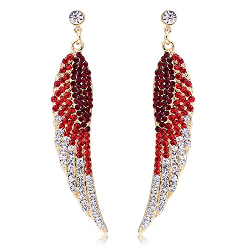 Women Angel Wings Rhinestone Ear Stud Dangle Earrings Jewelry - 5
