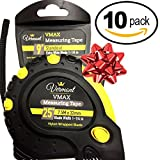 SUPER VALUE10-PACK Vermont 25-Feet Measuring Tape - Easy to Read Bold Numbers - Sturdy blade measuring 32mm width and stand out till 9 Feet. Great Employee Gifts.