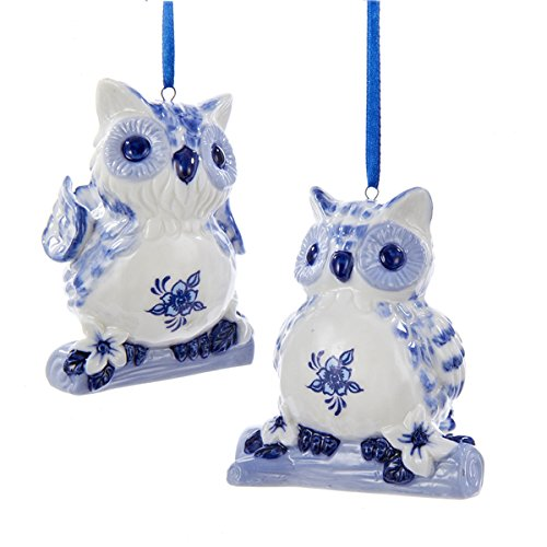 Kurt Adler Delft Blue Owls Old World Christmas Ornaments