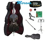 Merano 3/4 Size Black Cello with Hard Case, Bag and Bow+2 Sets of