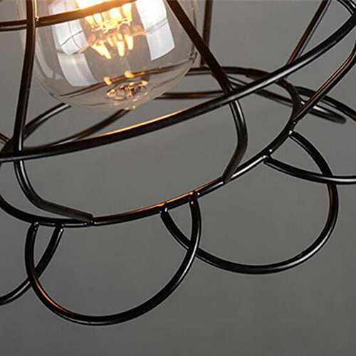 Sanguinesunny Pendant Light Ceiling Lamp Industrial Vintage Style Mini Hanging Lighting Lamp with Rose Wire Cage Guard 1-Light in Black Finish 40W 110V by Sanguinesunny (Image #5)