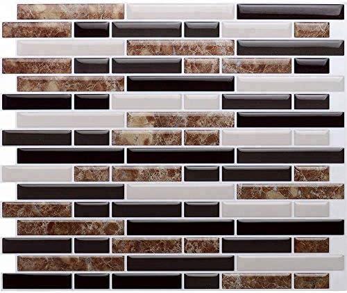 """nanly Tiles Abziehen und Aufkleben Fliesenspiegel aufkleben Backsplash Wandfliesen für die Küche & Bad-REMOVABL E, selbst Klebstoff 11""""x 9.25""""(4 Blatt)(Marmorbraune Streifen-2)"""