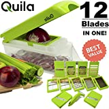baby food dicer - Quila. 12-In-1 Vegetable Chopper & Slicer + FREE EBOOK ! - Cuber & Dicer Food Cutter Cheese Grater Fruit Peeler Mandolin Slice Premium Stainless Steel Blade. Prime. FDA Approved.