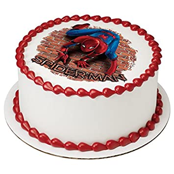 "Spider-Man Homecoming Wall Crawler Licensed Edible 8"" Round Cake  Topper #43887"