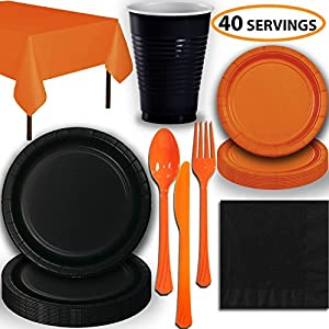 HeroFiber Disposable Party Supplies, Serves 40 - Black and Orange - Large and Small Paper Plates, 12 oz Plastic Cups, heavyweight Cutlery, Napkins, and Tablecloths. Full Two-Tone Tableware Set