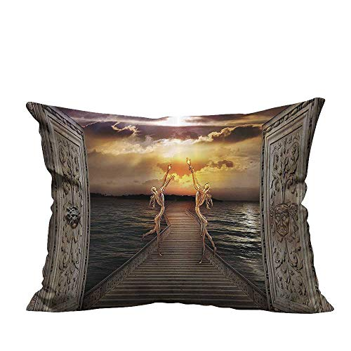 YouXianHome Home DecorCushion Covers Gaze Toward Heavens with Two Angels Dancing Dream Mystic Lands Comfortable and Breathable(Double-Sided Printing) 12x16 ()
