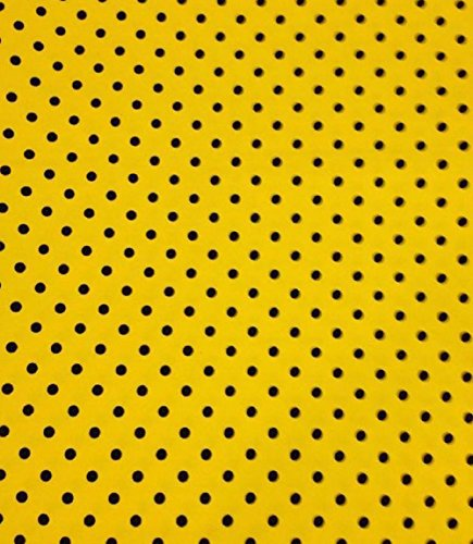 (Knit Yellow with Small Black Dots Design Fabric By the Yard, 95% Cotton, 5% Lycra, 60 Inches Wide, Excellent Quality, Medium weight, 4 way stretch (2)
