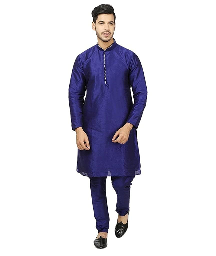 Royal Kurta Men's Silk Blended Traditional Loopbutton Designer Kurta Churidaar ROYAL-345-CHOTA-MOTI-BLUE-38