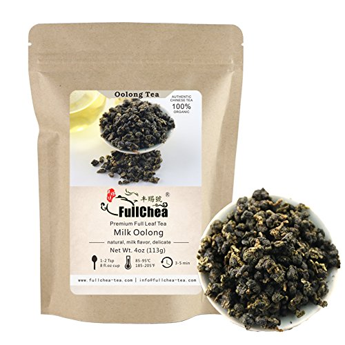 FullChea Premium Milk Oolong Tea Loose Leaf, Organic Taiwan High Mountain Jin Xuan Milk Flavor Taste 4oz / 113g