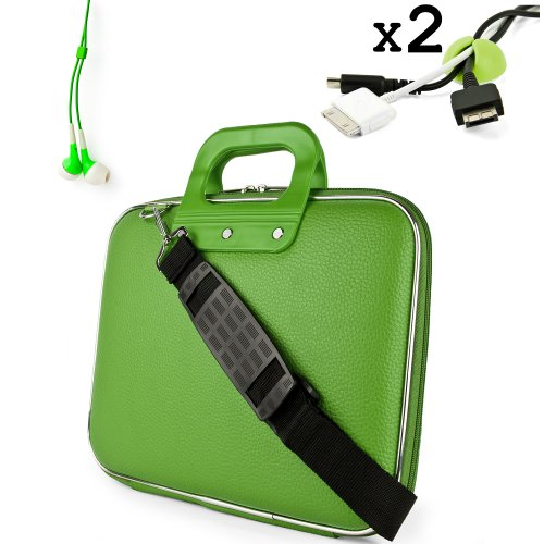 Uniquely designed SumacLife Brand Lime Green Ultra Durable Reinforced 12 Inch Cady Hard Shell Sports Bag for all models of the Samsung Chromebook 11.6 Inch (Samsung Series 5 550 Chromebook, Wifi, 3G, 11.6, XE303C12-A01US) + 2 Cable Holder Organizers + Earphones (Samsung Chromebook 550)