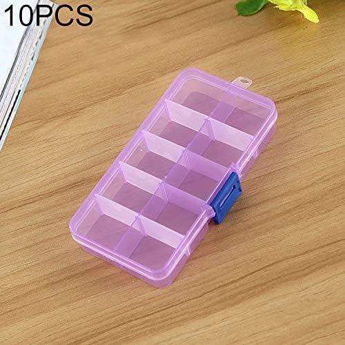 WEIHONG Caja de Almacenamiento 10 PCS Organizador de Caja de plástico con Rejilla extraíble for joyería Pendiente Gancho de Pesca Accesorios pequeños, Tamaño: pequeño, 10 Ranuras (Rosa + Azul)