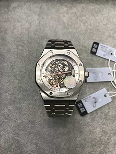 Luxury Brand Stainless Steel Silver Color Partially White Color dial Automatic Movement Skeleton Oak Watch -
