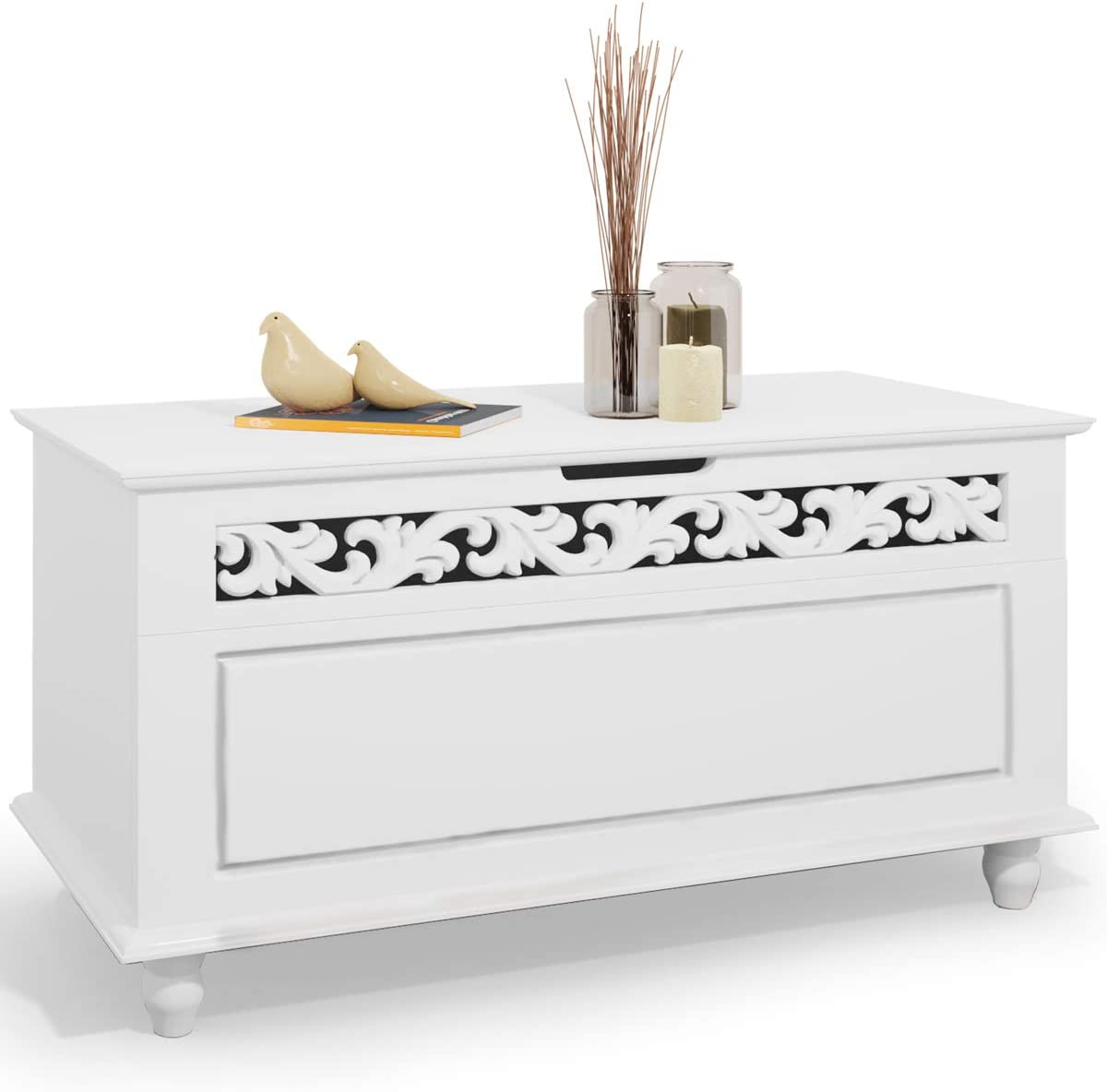 Deuba Wooden Storage Chest »Jersey« Blanket Trunk White Toy Box Large Bench Ottoman with Lid