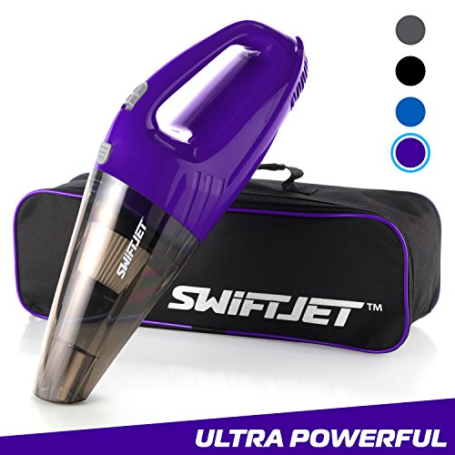 SwiftJet Car Vacuum Cleaner – High Powered 4 KPA Suction Handheld Automotive Vacuum – 12V DC 120 Watt – 14.5″ Cord – Multiple Attachments and BONUS filter included (Purple)