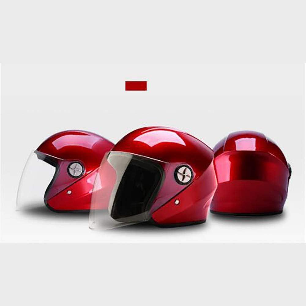 QXFJ Open Face Helm Jethelm Mopedhelm ABS-Schale EIN Helm Und Zwei Spiegel Multisegment-Sicherheitsschnalle 360 /° Durchblutung Atmungsaktiv Leicht Atmungsaktiv Wabenfutter 54-60CM