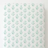 Carousel Designs Mint Anchors Toddler Bed Sheet Fitted