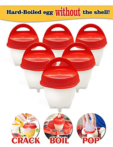 Egg Cooker-Hard Boiled Eggs without the Shell,Non Stick Silicone,boiled eggs mold, AS SEEN ON TV,6 Egg Cups ()