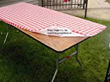 "30"" x 72"" Red & White Gingham Check Kwik Covers-6 Pack"