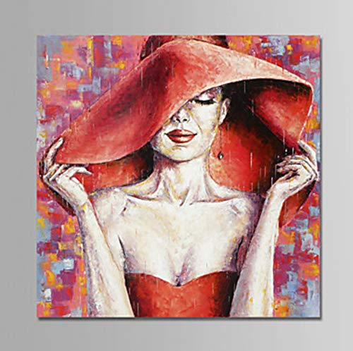 ZLYYH Hand Painted Oil Paintings On Canvas,Abstract People Paintings,Beautiful Woman in Red Big Hat,Home Decor,Wall Art Picture for Living Room Bedroom Restaurant Office Porch Corridor Mural,90×90Cm