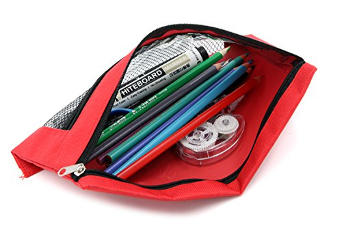 Pencil Case Pencil Pouch Zipper with 3 Ring and Double Pocket and Mesh Window(Colorful,6 Pack) by JONYEE (Image #5)
