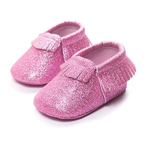 Hunpta Baby Kinderbett Fransen Pailletten Schuhe Kleinkind weiche Sohle Turnschuhe Freizeitschuhe (8 ~ 12 Monate, Silber) Rosa