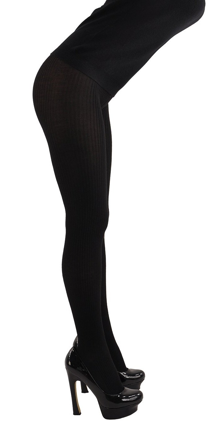 The Ultimate, Elegant Tights in Stunning Cashmere & Silk Fantasie Rib - RARE! L/XL (Sizes 8-14) Black