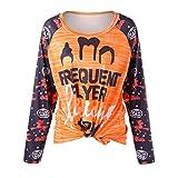 Farjing Women Fashion Halloween Pumpkin Long SleeveT-shirt Tops Blouse(XL,Multicolor)