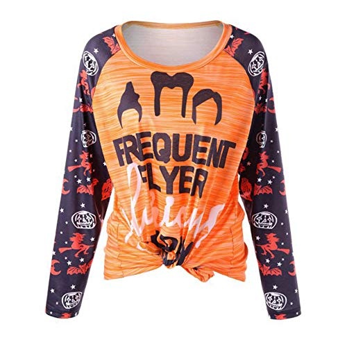 kaifongfu Women Tops,Long SleeveT-Shirt with Halloween Pumpkin Print Blouse(Multicolor,S) for $<!--$4.73-->