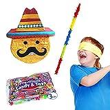 Large Mexican Emoji Pinata Kit for Fiestas Including Pinata, 3 lb Candy Filler, Buster Stick and Bandana, 22'' H